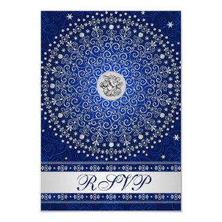 Hindu Ganesh Blue Silver Scrolls Wedding RSVP Card