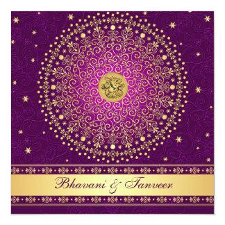 Hindu Ganesh Purple Gold Scrolls Wedding Invite