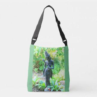 hindu garden deity green crossbody bag