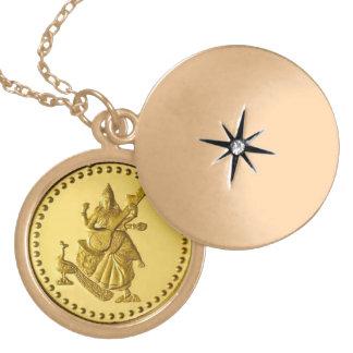 HINDU GODDESS SARASWATI GOLD PLATED NECKLACE