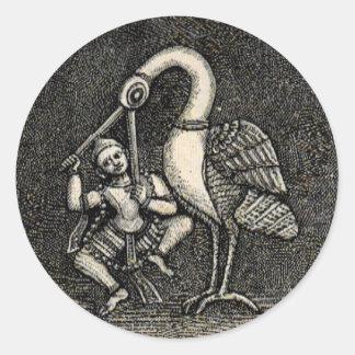 HINDU HERO & HERON (1887) CLASSIC ROUND STICKER