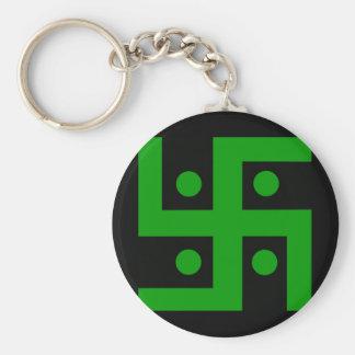 Hindu swastika (green on black background) key ring