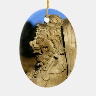 Hindu temple sculpture Ubud Bali Ceramic Oval Decoration