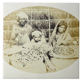 Hindu Vegetable and Fruit Sellers in Madras, 19th Tiles