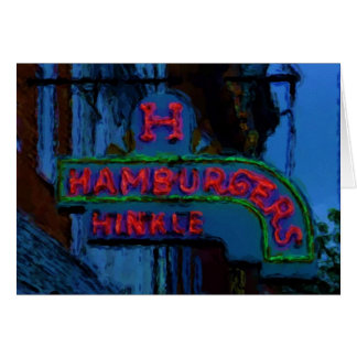 Hinkle's Hamburgers Sign Greeting Card