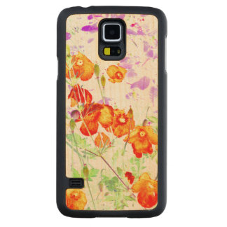 hint of poppy Samsung Galaxy S5 wooden phone case