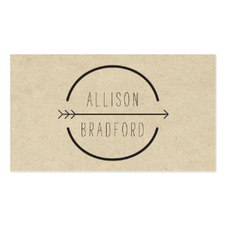 Hip and Rustic Arrow Logo on Tan Cardboard Pack Of Standard Business Cards