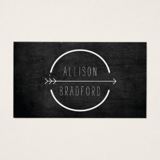 Hip and Rustic Arrow Logo with Handwritten Name Business Card
