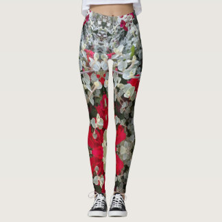 Hip and Stylish Red Gray Flower Design Leggings