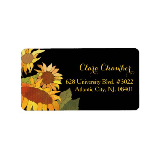 Hip Autumn Sunflowers Floral Address Label