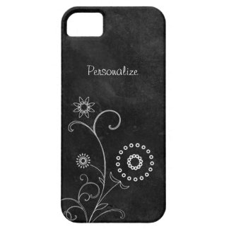 Hip Black and White Foral Chalkboard With Name iPhone 5 Case