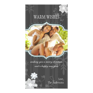 Hip Black & White Winter Holiday Family Photo Card