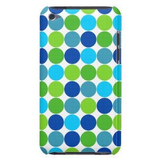 Hip Blue Green Polka Dot Pattern Design Barely There iPod Cases
