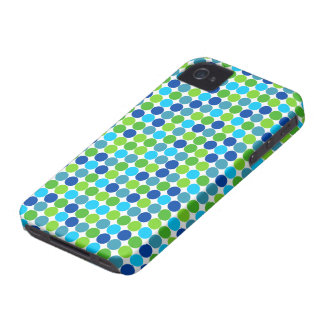 Hip Blue Green Polka Dot Pattern iPhone 4 Case