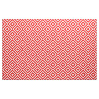 Hip Bright Red Ikat Diamond Squares Mosaic Pattern Fabric
