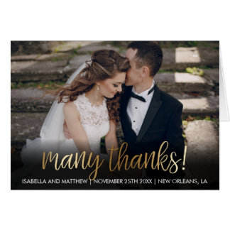 Hip Bronze Many Thanks! Wedding Photo Card