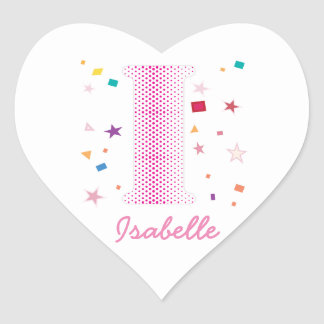 Hip Chic Baby Girl Custom Name Initials Letter I Heart Sticker