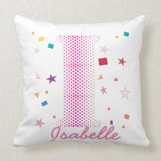 Hip Chic Baby Girl Custom Name Initials Letter I Throw Pillow