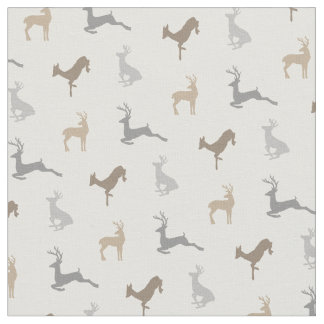 Hip Deer Pattern in Neutral Browns Fabric