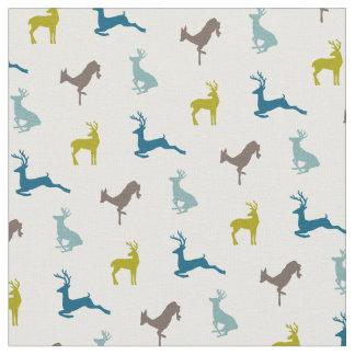 Hip Deer Pattern in Retro Colors Fabric