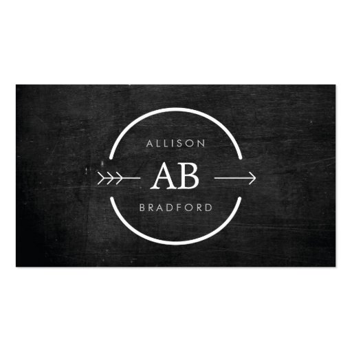 HIP & EDGY MONOGRAM LOGO with ARROW on BLACK WOOD Business Cards