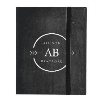 HIP & EDGY MONOGRAM LOGO with ARROW on BLACK WOOD iPad Cases