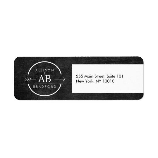 HIP & EDGY MONOGRAM LOGO with ARROW on BLACK WOOD Return Address Label