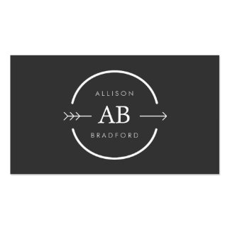 HIP & EDGY MONOGRAM LOGO with ARROW on DARK GRAY Business Cards