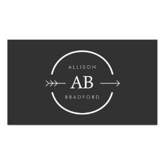 HIP & EDGY MONOGRAM LOGO with ARROW on DARK GRAY Business Cards