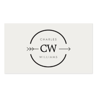 HIP EDGY MONOGRAM LOGO with ARROW on LIGHT GRAY Business Card Templates