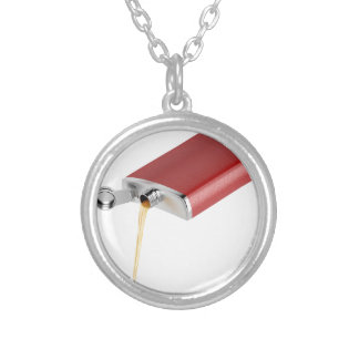 Hip flask silver plated necklace