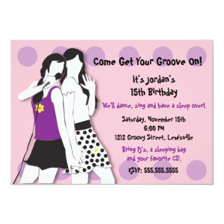 """Hip Girls Singing in Pink and Purple 5"""" X 7"""" Invitation Card"""
