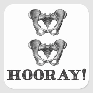 Hip Hip Hooray Anatomy Message Square Sticker