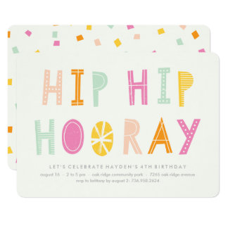 Hip Hip Hooray Birthday Invitation - Orange