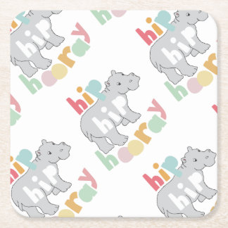 Hip Hip Hooray Square Paper Coaster