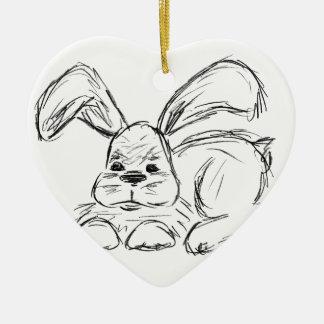 Hip Hop, A Bunny Rabbit Ceramic Heart Decoration