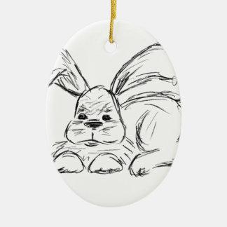 Hip Hop, A Bunny Rabbit Ceramic Oval Decoration