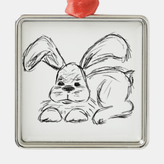 Hip Hop, A Bunny Rabbit Silver-Colored Square Decoration