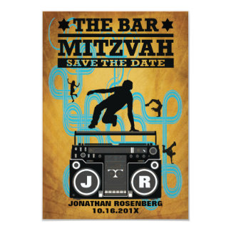Hip Hop Bar Mitzvah Save the Date 9 Cm X 13 Cm Invitation Card
