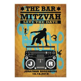 Hip Hop Bar Mitzvah Save the Date Custom Announcement