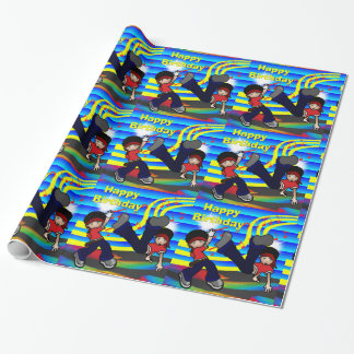 Hip Hop Break Dancing 2 KidsHappy BIrthday Wrapping Paper