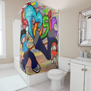 Hip Hop Break Dancing Kids Graffiti Background Shower Curtain