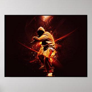 hip-hop breakdancer on fire poster