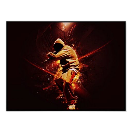 hip-hop breakdancer on fire posters