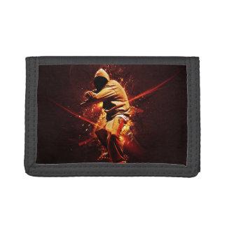 hip-hop breakdancer on fire tri-fold wallet
