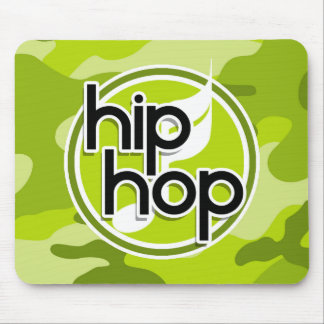 Hip Hop; bright green camo, camouflage Mouse Pads