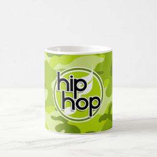 Hip Hop; bright green camo, camouflage Classic White Coffee Mug