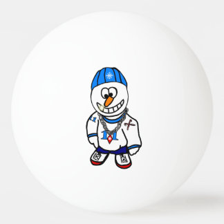 Hip-Hop Christmas Snowman Rapper Ping Pong Ball