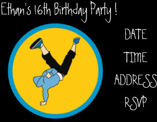 Hip Hop Cool Teenage Boys Birthday Party Invitation