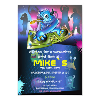 Hip Hop Cute Monsters Fun Party Invitation Design